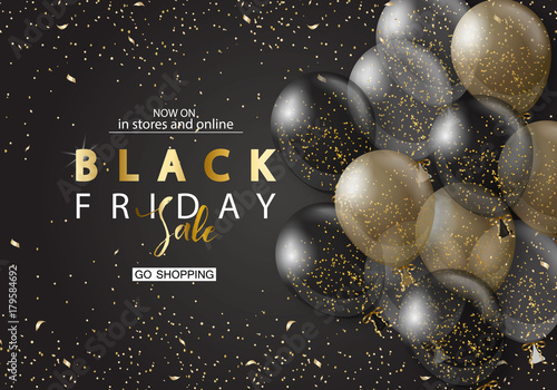 Black friday sale background with transparent realistic balloons. Modern design.Universal vector background for poster, banners, flyers, card.