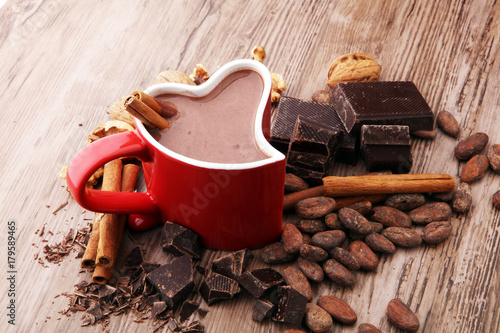 Foto op Canvas Chocolade cup of hot chocolate, cinnamon sticks, nuts and chocolate on wooden table