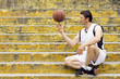 basketball player on stairs