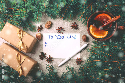 Hot mulled wine, Christmas tree, gifts, cones, to do list Poster