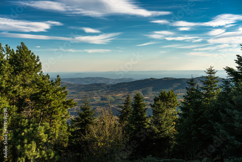 Fotobehang Zwart Forest Landscape at Taxiarhis, Polygyros, Chalkidiki, Greece