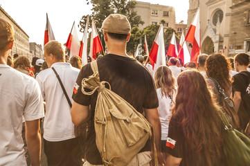 Polish people on patriotic manifestation in Warsaw, Poland.