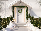 christmas decorated porch with little trees and lanterns. 3d rendering - 179601668