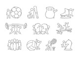 set of sketch little people with sport equipment