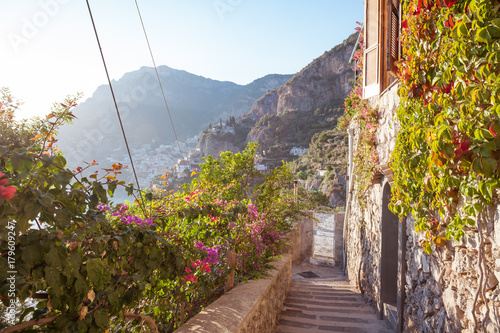 Stone stairs Path of the Gods to Positano Poster
