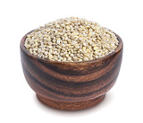 Pearl barley groats in wooden bowl isolated on white background - 179616685