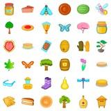 Pancake Icons Set Cartoon Style Wall Sticker