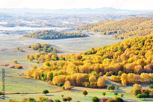 Papiers peints Orange autumn landscapes of Bashang plateau/ autumn landscapes of meadows steppe