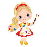 Vector Little Girl with Palette and Paint Brush. Vector Little Artist