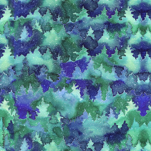 Cotton fabric .Winter background with a Christmas tree in the snow. Watercolor seamless pattern with a winter landscape. Painted illustration of a winter scene