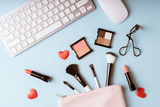 Set of Makeup cosmetics products with bag on top view, vintage style - 179647482