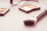 Set of Makeup cosmetics products with bag on top view, vintage style - 179648274