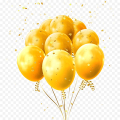 Yellow balloons and golden star confetti for birthday party or balloon festival design. Vector glossy 3D realistic yellow, glossy baloon on transparent background for holiday celebration greeting card