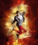 Man break dancing on gold background - 179652496
