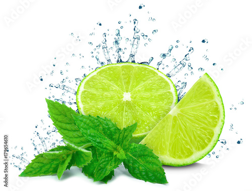lime water splash and mint isolated  - 179654610