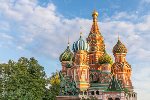 Fotobehang Moskou The famous Cathedral of St. Basil the Blessed, located on the Red Square in Moscow, Russia