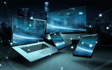 Modern digital tech device connected to each other 3D rendering