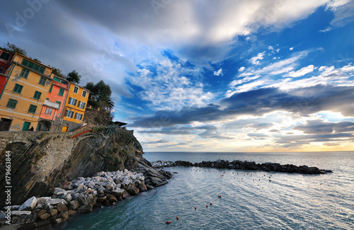 Staande foto Liguria Italy, Liguria, Five Lands - scenic view of the coast, sea, sky and clouds