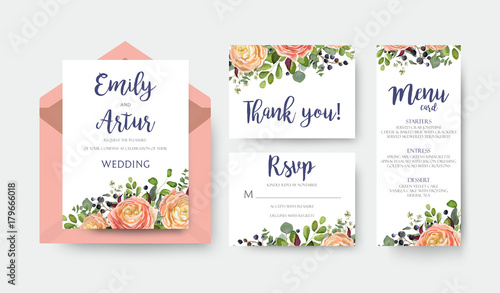 Wedding invite invitation menu thank you rsvp card vector floral design with pink peach garden Rose, ranunculus flower eucalyptus forest fern leaves bright pattern. Watercolor rustic style elegant set - 179666018
