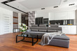Black coffee table and couch - 179669641