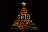 2018 new year multilingual text word cloud greeting card in the shape of a christmas tree - 179673273
