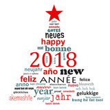 2018 new year multilingual text word cloud greeting card in the shape of a christmas tree - 179673291