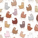 Cute fluffy llama (alpaca) seamless pattern. Funny cartoon vector background.