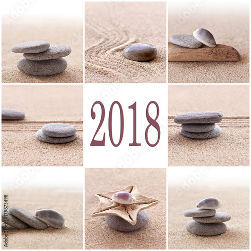 Fotobehang Zen Stenen 2018, zen sand and stones greeting card
