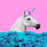 Contemporary art collage. Concept my unicorn life. White Unicorn in  dreams flowers - 179675271