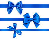 Set of decorative blue bows with horizontal ribbons isolated on white. Vector illustration - 179679622