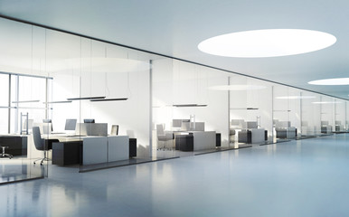 Contemporary modern white offices interior
