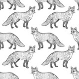 Seamless pattern with fox. - 179680637