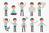 Male character in casual clothes in different poses: Vector illustration.