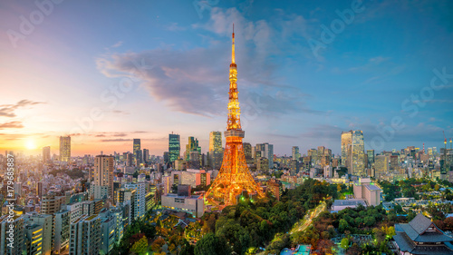 Plakat Tokyo city view with Tokyo Tower