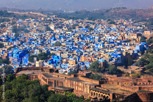 Foto Murales Aerial view of Jodhpur Blue City. Jodphur, Rajasthan, India