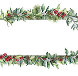 Watercolor Christmas floral banner. Hand painted floral garland with berries and fir branch, pine cone, bells and ribbon isolated on white background. Holiday clip art. - 179692407