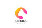 Cat Logo silhouette vector. Home pets veterinary clinic icon