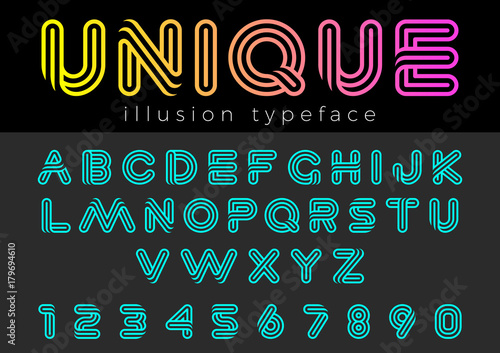 Linear Illusion vector Font for Title, Header, Lettering, Logo
