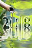 2018, zen bamboo fountain close up greeting card - 179697055