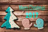 2018 christmas gingerbread cookies on wood greeting card - 179697085