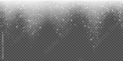 Snow falling vector background of sparkling snowfall and glittering snowflakes or glowing glitter particles. Vector abstract pattern background for Christmas or New Year winter holiday template design