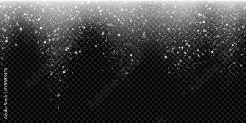 snow falling vector background of sparkling snowfall and glittering snowflakes or glowing glitter particles vector