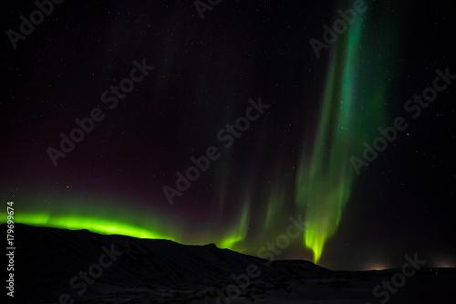 Aluminium Noorderlicht Polarlicht (Aurora borealis) über Island