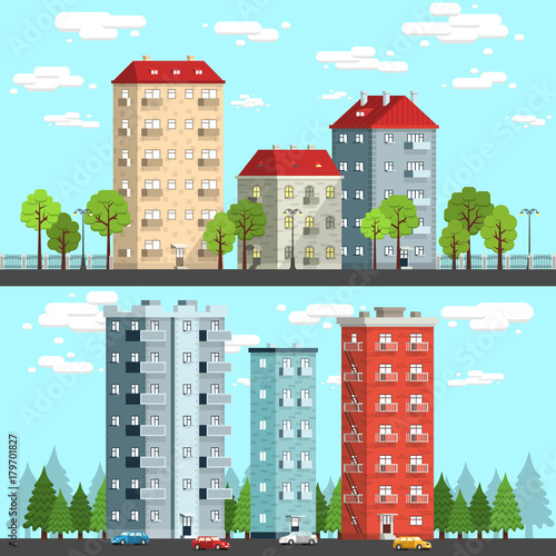 Fotobehang Lichtblauw Group of multi-storey houses surrounded by trees, street lamps, cars. City landscape vector illustration.