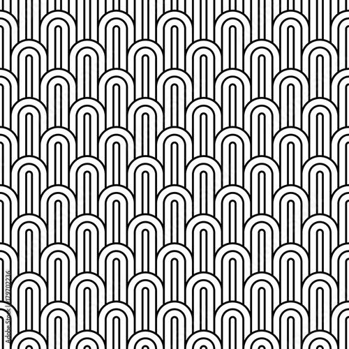 seamless monochrome arc pattern.