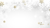 Christmas light background with white and golden snowflakes. - 179705059