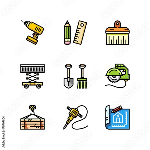 Obraz na płótnie Building, construction and home repair tools simple outline colorful icons for web and mobile design set 4