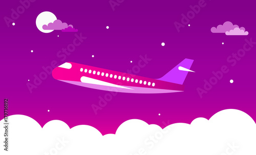 Fotobehang Abstractie Art Airplane in the night sky