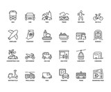 Line icons about transport