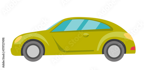Fotobehang Auto Green car. Side view. Vector cartoon illustration isolated on white background.